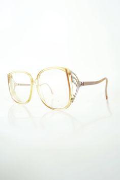 1970s Peach Oversized Eyeglasses Womens Glasses Boho Chic Glam