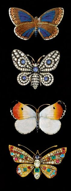Butterfly and moth brooches from the end of the nineteenth century. The sapphire and diamond example came from a British noble family, whereas the more flamboyant, and slightly later, multi-coloured brooches (bottom), set with opals, emeralds, rubies, sapphires and diamonds, came from the Spanish collection of the 18th Duke of Plasencia.