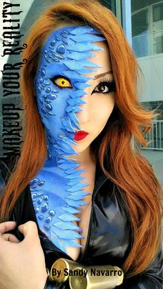 Mystique from X-men makeup took me 3 hours, the idea here is mid-transformation.