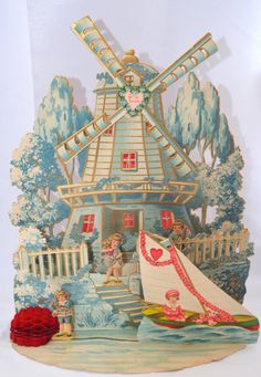 Windmill Valentine's Day Card -Antique, Embossed, Large, Die Cut, Fold Down Honeycomb Card.  Made in Germany https://www.etsy.com/listing/502623365/