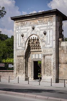 bocio: Karatay Madrasa, Konya ®icardoWatson, 2014 Islamic Architecture, Art And Architecture, Islamic Art, Door Handles, Louvre, Doors, Texture, Landscape, History
