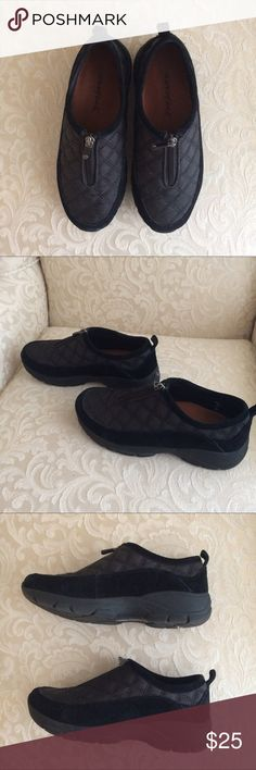 Size 7 Land's End Slip-Ons Size 7 black and grey Lands End slip on shoes with a half zipper and rubber soles. Very gently used, in great condition. Lands' End Shoes Mules & Clogs