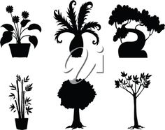 iCLIPART - Illustration of tree and plant silhouettes