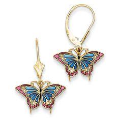 14k Butterfly w/ Blue Stained Glass Leverback Earrings