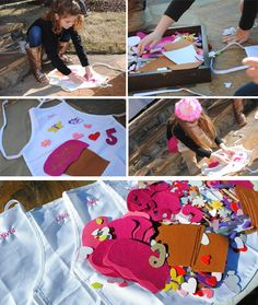 apron decorating activity that the girls really enjoyed. Personalized aprons were embellished with glitter glue,  felt shapes and letters.