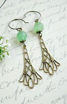 Mint earrings filigree brass faceted