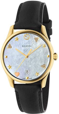 3ea61a29af4 Gucci - G-Timeless Crystal   Leather Strap Analog Watch