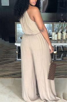 21f54755cda3 Plus Size Halter Sleeveless Solid Color Pocket Jumpsuit Curvy Clothes