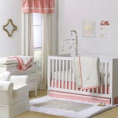 The Peanut Shell Gold Dot and Chevron 3 Piece Crib Bedding Set features a beautiful cotton sateen confetti dot and chevron print highlighted with coral pink. The three piece crib set includes a Quilt, Fitted Sheet, and Dust Ruffle. Girl Crib Bedding Sets, Girl Cribs, Baby Nursery Bedding, Crib Sets, Bed Sets, Baby Cribs, Bed Bath & Beyond, Best Crib, Crib Mattress
