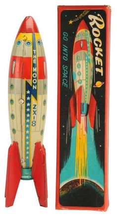 Lot # : 585 - Tin Litho String-Wind Rocket The Moon ZX-8.