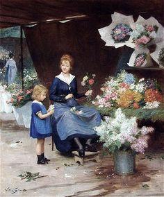 Victor-Gabriel Gilbert (French Academic Painter, 1847-1933) ~ Flower Seller