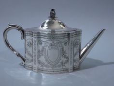 Victorian English London Sterling Silver Teapot 1868,  this is the tea pot I just bought at a thrift store except the handle and pineapple are ivory.