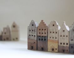 5 Dutch style clay buildings European architecture.  Hanseatic architecture. Gift for architect. ceramics and pottery house House warming