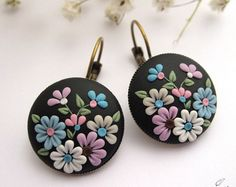 Midnight Fantasy * Polymer clay earrings * Unique jewelry * Floral earrings