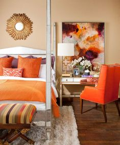The bedroom is where you can really personalize your style. If you love Fall, bring some autumn themes into your bedroom. Orange is a great way to go.