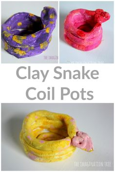 Clay snake coil pots - The Imagination Tree Clay snake coil pots- fun art activity for kids! Art Therapy Activities, Art Activities For Kids, Art For Kids, Outdoor Activities, Clay Projects For Kids, Kids Clay, 3d Projects, Clay Crafts For Kids, Clay Activity