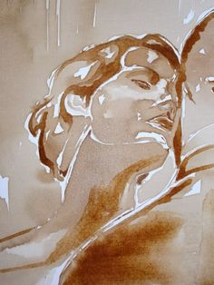 Painted  with coffee on canvas- Title : I need to see you - size 50xh 60cm