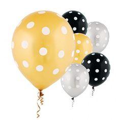 Designer Balloons Polka Dot Black, Gold & Silver Latex Balloons   20ct
