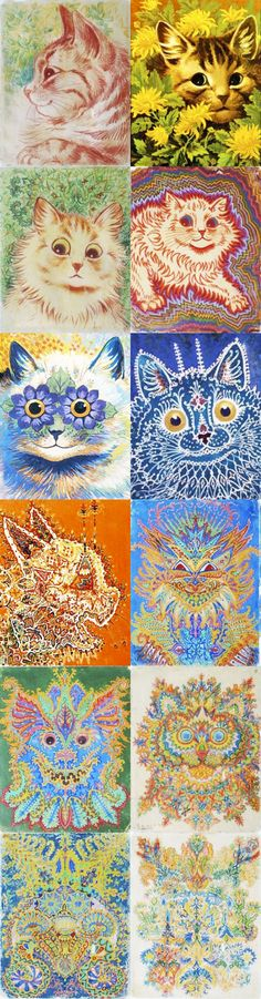 Check out Louis Wain and the progression of his cat paintings as he developed Schizophrenia!  http://www.schizlife.com/louis-wains-schizophrenic-cats/