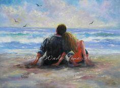 Beach Lovers Print, loving couple paintings, lovers on beach, hugging, romantic paintings, Vickie Wade art. $26.00, via Etsy.