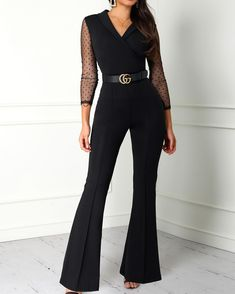 Sophisticated Work Attire and Office Outfits for Women to Look Stylish and Chic Wrap Jumpsuit, Jumpsuit With Sleeves, Lace Jumpsuit, Elegant Jumpsuit, Backless Jumpsuit, Look Fashion, Womens Fashion, Fashion Trends, Looks Chic
