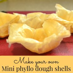 So easy! Make your own mini phyllo dough shells from the frozen sheets of phyllo (filo) pastry. They bake up light and flaky - perfect for desserts and appetizers! Phillo Dough Recipes, Phyllo Recipes, Puff Pastry Recipes, Quiche Recipes, Snack Recipes, Dessert Recipes, Snacks, Luncheon Recipes, Pie Recipes