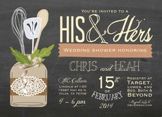 His & Hers Couple's Wedding Shower Invitation by papernpeonies, $15.00