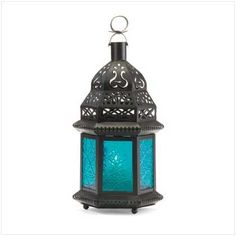"Blue Glass Candle Lantern 8""  9th Anniversary Color : Lapis Lazuli (Blue)"