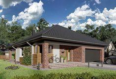 Projekt domu parterowego o pow. 124,6 m2 z obszernym garażem, z dachem kopertowym, z tarasem, sprawdź! Home Fashion, House Plans, House Design, How To Plan, Mansions, House Styles, Home Decor, Projects, Blueprints For Homes