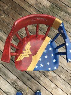 Custom Hand Painted Wonder Woman Chair in League City - letgo