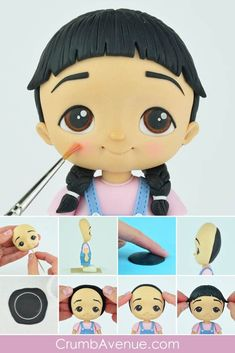 Girl & Boy Tutorial with Templates - mathilda Polymer Clay People, Polymer Clay Cake, Polymer Clay Dolls, Polymer Clay Projects, Clay Crafts, Fondant Figures Tutorial, Cake Topper Tutorial, Cake Toppers, Fondant Hair