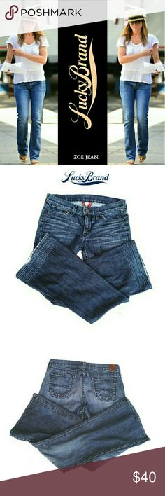 """LUCKY BRAND ZOE  JEANS LUCKY BRAND JOE   JEANS Pre-Loved  / Image for Similarity  *   RN # 80318 *   SIZE 10/30 *   Standard 5 Pocket Jean's *   Some Intentional Fading *   Some Whispering & Frayed on Hems *   Some Whispering & Creases on Lower Back Legs *   Approx Meas; Waist 16"""" Inseam 32"""" Rise 8 1/2"""" Leg Opening 10 1/2"""" Pls See All Pics & Measurements. Ask . If Needed Lucky Brand Jeans Boot Cut"""