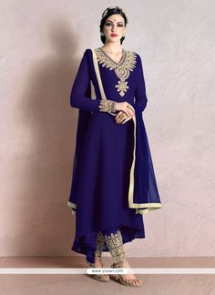 Impeccable Georgette Purple Pant Style Suit Model: YOS7091