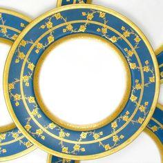 Royal Worcester English Porcelain Gold Encrusted Raised Gilt Enamel Blue Dinner / Service Plates Set from The Antique Boutique