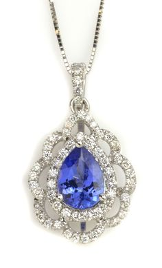 Blue Tanzanite Necklace. Item #362-173516 1.05 ct Tanzanite Pear & 0.37 ctw Diamond Round 14K White Gold Pendant Length 18 - Gem Shopping Network