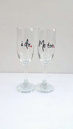 I do, Me too hand-painted champagne flutes