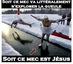 Soit ce mec est Jésus, soit l'autre va s'exploser la gueule contre la glace.