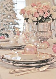 Retro Pastel Pink Christmas Dining Decorations, Christmas Home Decors #pastel #pink #christmas www.loveitsomuch.com