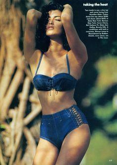 'Taking The Heat' from Vogue July 1991. Yasmeen Ghauri