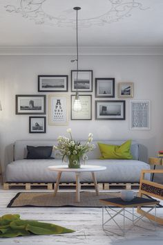 Amazing 16 DIY Indoor Pallet Couch Ideas Arrange a DIY pallet sofa set in your living room and invit Diy Living Room Decor, Living Room Grey, Rugs In Living Room, Interior Design Living Room, Living Room Designs, Living Room Furniture, Home Furniture, Home Decor, Cheap Furniture