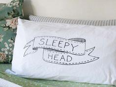 Sleepy Head Hand Screenprinted Pillowcase for Kids
