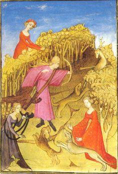 Medieval women hunting - دور النساء في العصور الوسطى بأوروبا - الصيد: النساء في المنتصف يقمن بإطلاق السهام وتستخدم المرأة على اليسار قضيبًا لدفع الطرائد نحو الصيادة، الموسوعة الحرة