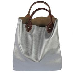 Silver Leather flat work tote by Clare Vivier at BODIE and FOU | Leather bags ($200-500) - Svpply
