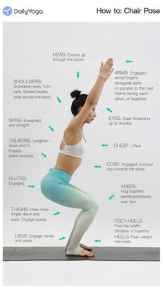 We got a question about how to do a chair pose correctly? Then we made this picture with all details, hope it can be helpful. Free Yoga Classes, Chair Pose, Beginner Yoga, Stick Figure, Daily Yoga, Yoga Poses For Beginners, Yoga Tips, Self Improvement Tips, Asana