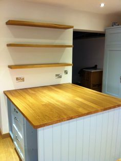 Solid 40mm thick European Oak Worktop and floating shelves.  Made by www.glyncurtis.com Oak Floating Shelves, Watch This Space, Cabinet Making, Luxury Kitchens, How To Plan, Projects, House, Ideas, Design
