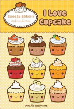 Kawaii Cupcake Sticker Sheet by *A-Little-Kitty on deviantART