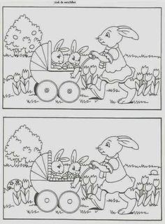Find the differences Kids Learning Activities, Easter Activities, Kindergarten Worksheets, Easter Colouring, Coloring For Kids, Colouring Pages, Hidden Pictures, Easter Art, Activity Books