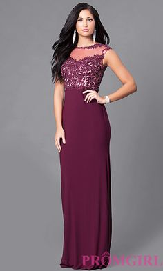 Beaded-Lace Long Prom Dress