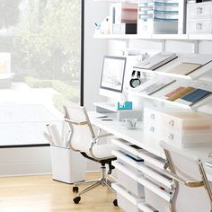 White Elfa Office System from The Container Store