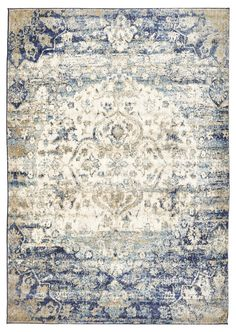 Venice Stunning Designer Ivory Blue Rug by Network Rugs. Get it now or find more All Rugs at Temple & Webster.